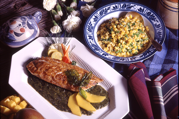Bronzed Salmon With A Mango-Spinach Puree