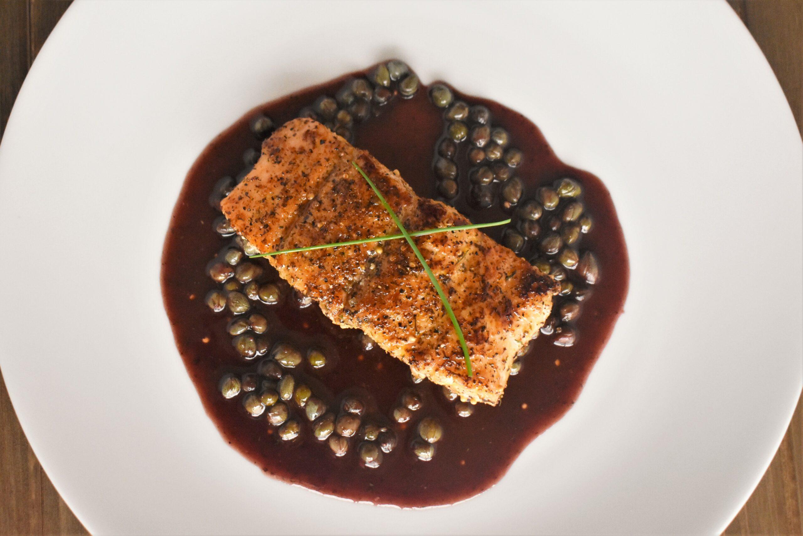 Bronzed Salmon with Merlot Caper Sauce