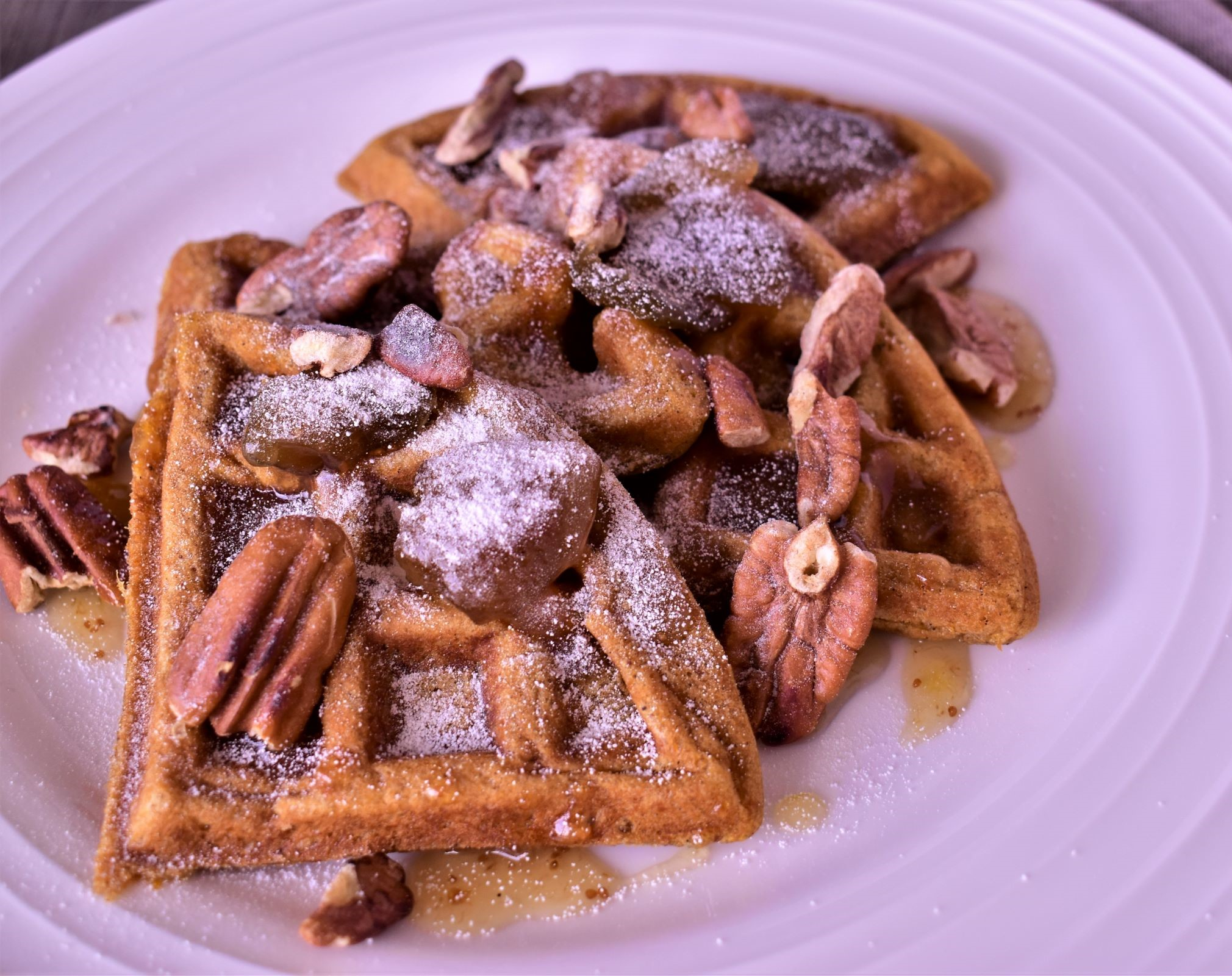 Sweet Potato Waffles with Buttery Fig Sauce