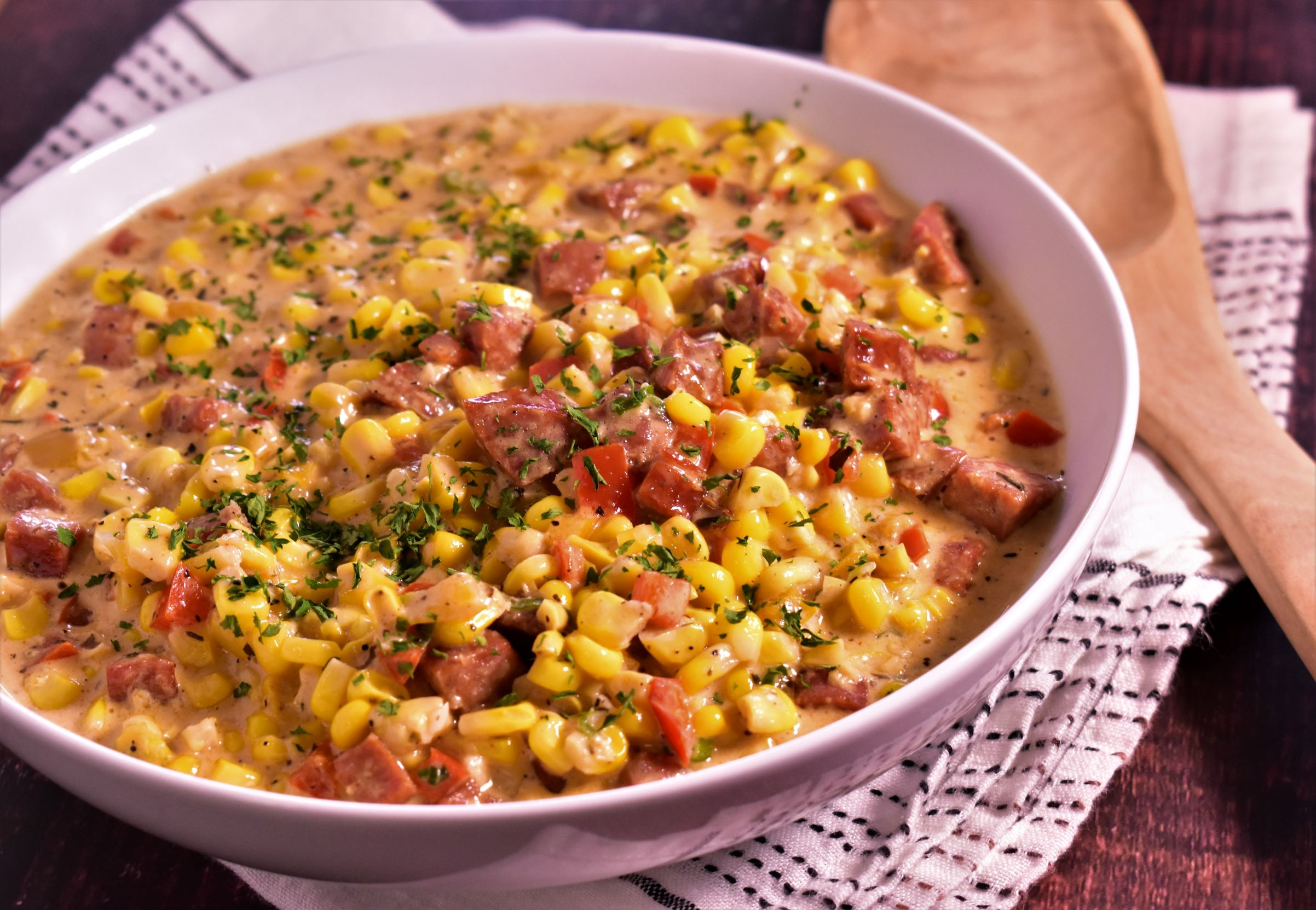 Creamed Corn with Smoky Andouille Sausage