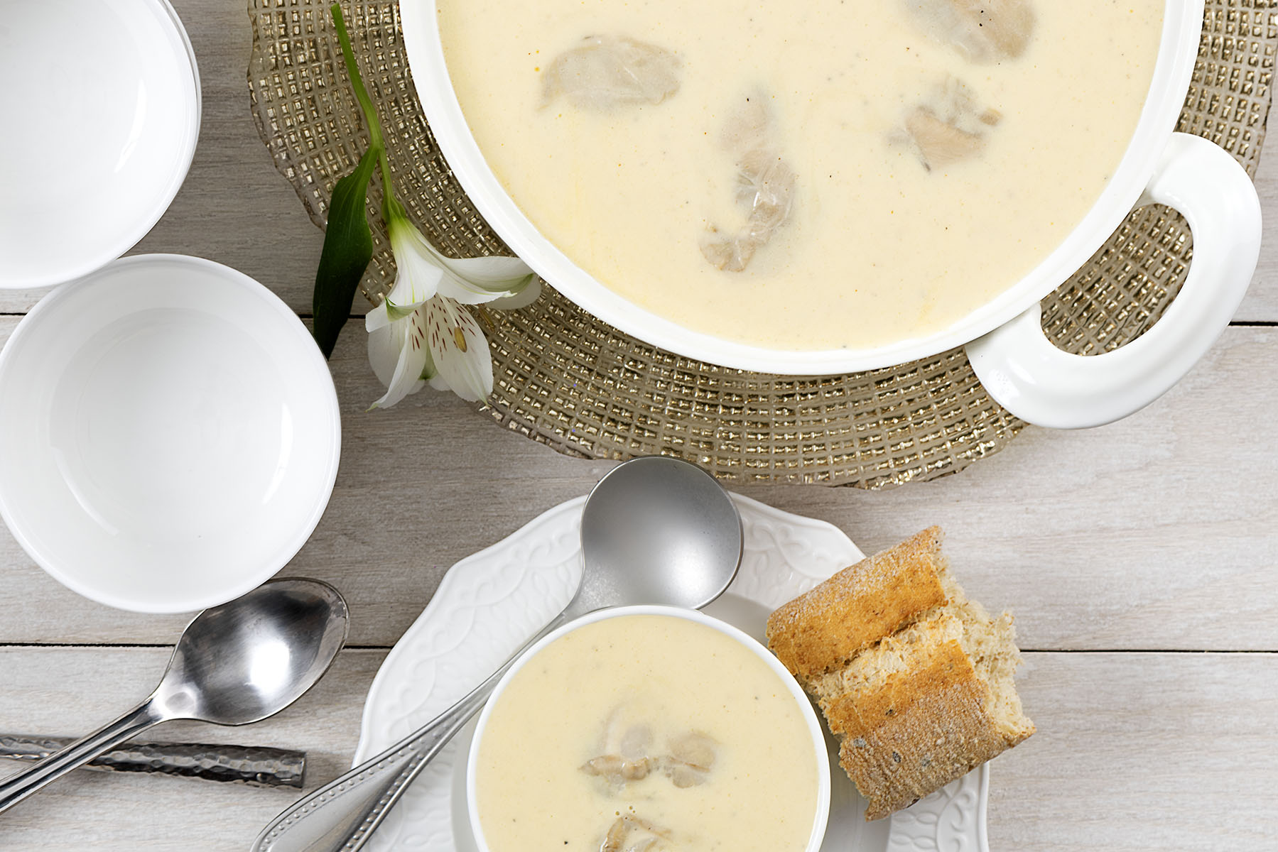 Oyster and Brie Soup